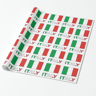 Italy Flag and Word Wrapping Paper
