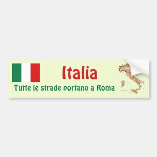 Italy Flag + Map Bumper Sticker