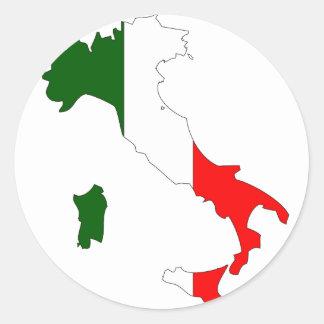 Italy flag map round sticker