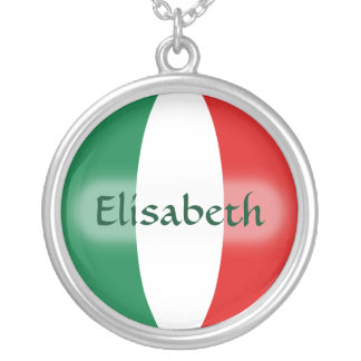 Italy Flag + Name Necklace