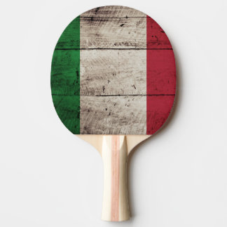 Italy Flag on Old Wood Grain Ping Pong Paddle