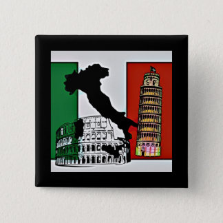 Italy - Flag, Silhouette, Tower, and Colosseum 2 Inch Square Button