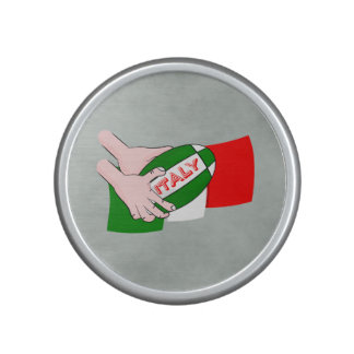 Italy Flag With Cartoon Rugby Ball Speaker