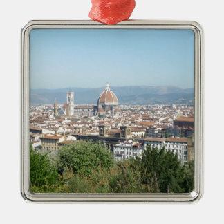 Italy Florence Duomo Michelangelo Square (New) Silver-Colored Square Ornament