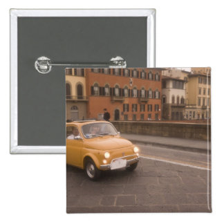 Italy, Florence. Fiat 800 Rally crosses Arno 2 Inch Square Button
