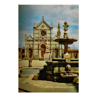 Italy, Florence, Firenze, 1908, S. Croce church Poster