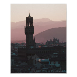 Italy, Florence, Towers in city at dusk 2 Poster