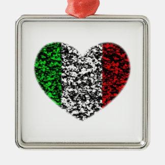 Italy Heart Silver-Colored Square Ornament