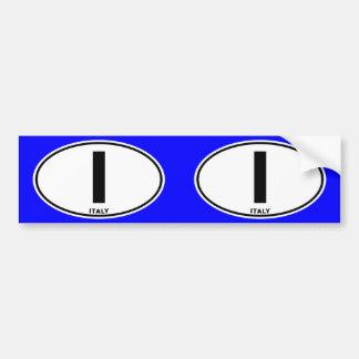 Italy I Oval ID Identification Code Initials Bumper Sticker