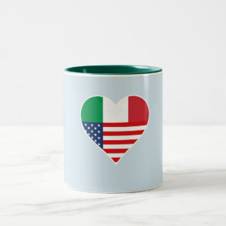 Italy, Italia - America, the USA. Heart, Country Two-Tone Coffee Mug