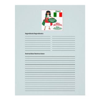 Italy - Italia blank rice recipe cards