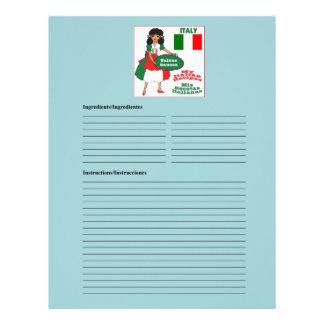 Italy - Italia blank sauces recipe cards