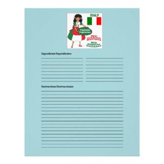 Italy-Italia blank vegetarian recipe cards