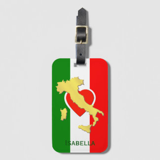 Italy Italia Italian Flag Gold Country Name Luggage Tag
