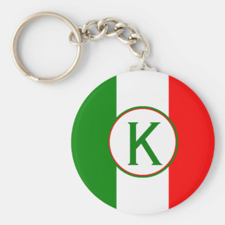 Italy Italian Flag Design with your Initials Basic Round Button Keychain