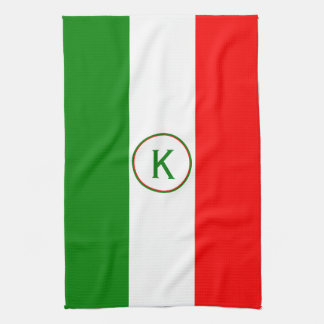 Italy Italian Flag Design with your Initials Kitchen Towel