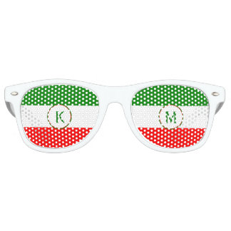 Italy Italian Flag Design with your Initials Party Shades