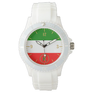 Italy Italian Flag Design with your Initials Watch