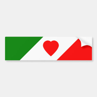 Italy Italian Italia Flag Tricolore Heart Design Bumper Sticker