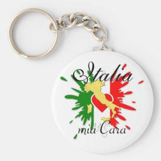 Italy Italian Italia Italo Flag Heart Gold Country Keychain
