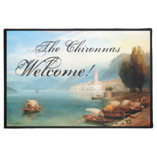Italy Lake Como Boats Ocean Welcome Doormat
