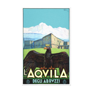 Italy L'Aquila Restored Vintage Travel Poster Canvas Print