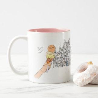 Italy love Fashion illustration Gelato Duomo Two-Tone Coffee Mug