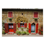 Italy, Lucignano, Red Shutters and Harvest