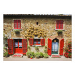 Italy, Lucignano, Red Shutters and Harvest Photograph