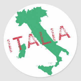 Italy map art with Italia Round Sticker