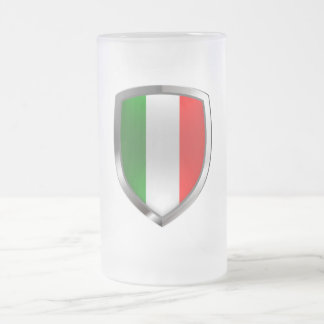 Italy Metallic Emblem Frosted Glass Beer Mug