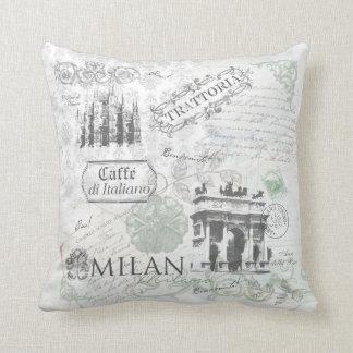 Italy Milan Travel Collage Pillow decor