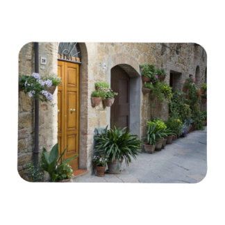 Italy, Pienza. Flower pots and potted plants Rectangular Photo Magnet