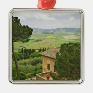 Italy, Pienza. View of the Tuscany Silver-Colored Square Ornament