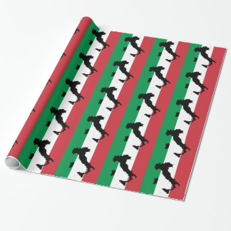 Italy Red White Green Stripes Wrapping Paper