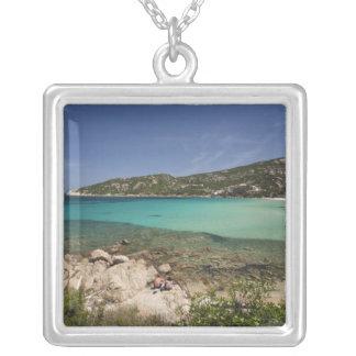 Italy, Sardinia, Baja Sardinia. Resort beach. Silver Plated Necklace