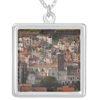 Italy, Sardinia, Bosa. Town view with Castello Silver Plated Necklace