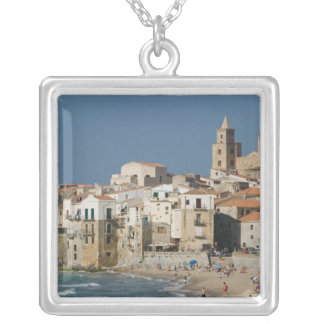 Italy, Sicily, Cefalu, Town View with Duomo from Silver Plated Necklace