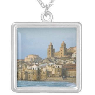 Italy, Sicily, Cefalu, View with Duomo from 2 Silver Plated Necklace