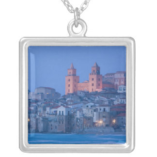 Italy, Sicily, Cefalu, View with Duomo from Silver Plated Necklace
