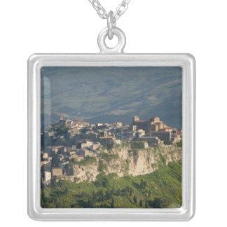 Italy, Sicily, Enna, Calascibetta, Morning View 2 Silver Plated Necklace