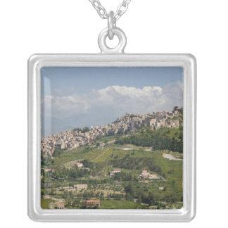 Italy, Sicily, Enna, Calascibetta, Morning View Silver Plated Necklace