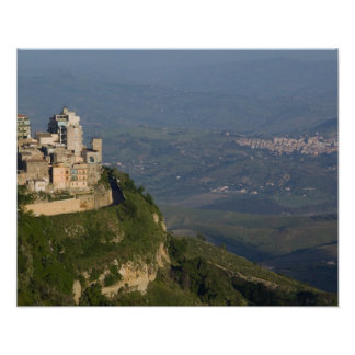 Italy, Sicily, Enna, Town View from Rocca di Poster