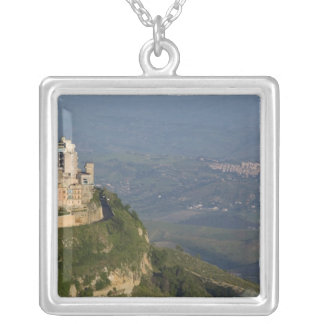 Italy, Sicily, Enna, Town View from Rocca di Silver Plated Necklace