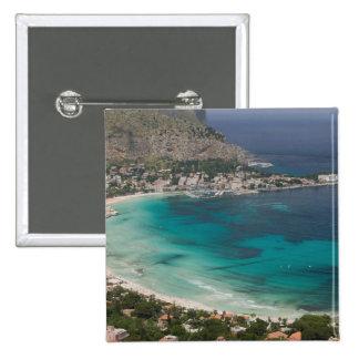 Italy, Sicily, Mondello, View of the beach from 2 Inch Square Button