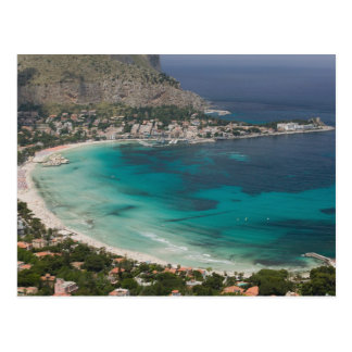 Italy, Sicily, Mondello, View of the beach from Postcard