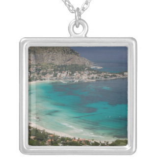 Italy, Sicily, Mondello, View of the beach from Silver Plated Necklace