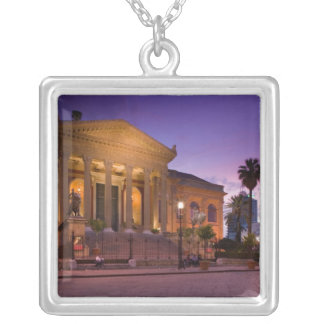 Italy, Sicily, Palermo, Teatro Massimo Opera Silver Plated Necklace
