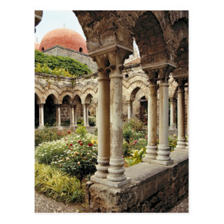 Italy, Sicily, Palermo. The cloisters survive as Postcard