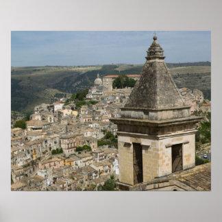 ITALY, Sicily, RAGUSA IBLA: Town View and Santa Poster